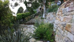 stone wall with garden