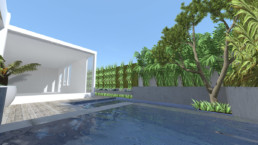 3d render of backyard with natural pool