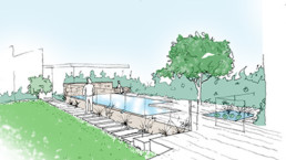 sketch of backyard pool area